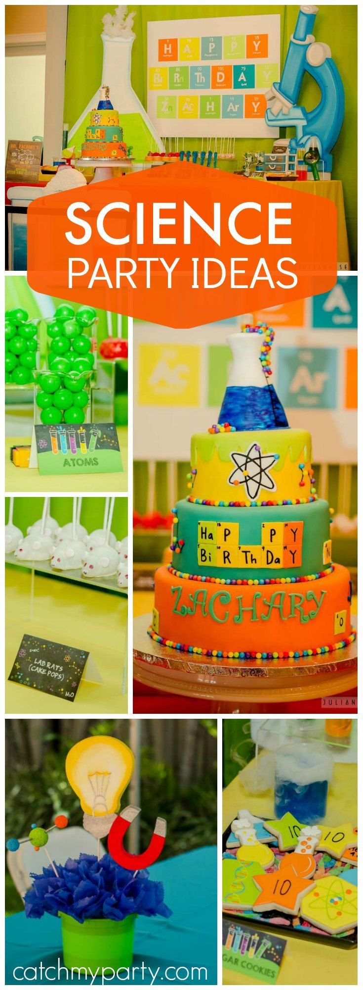 Such great ideas at this science themed boy birthday party! See more party ideas at Catchmyparty.com!