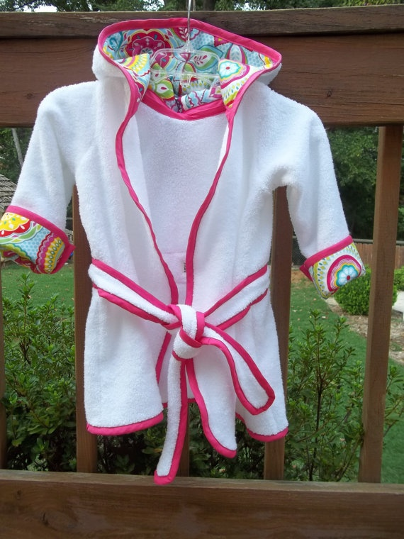 Toddler Girls Terry Bath Robe  Available in by threespunkymonkeys, $69.95