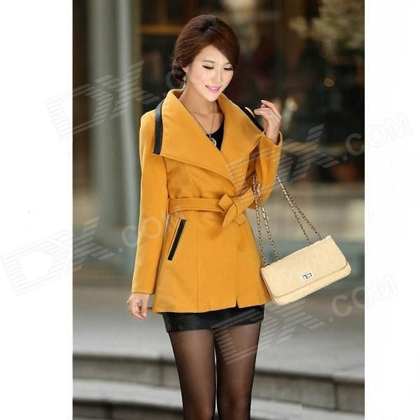 Fashionable Women's Slim Fit Lapel Coat - Ginger (Size-L)