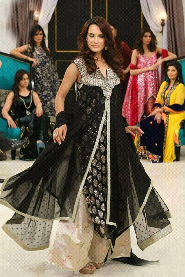 Black/Off White Embroidered Front Open Panel Shirt &Plazzo Special Occasion Dress $249.99 DESIGNER PARTY DRESSES Pakistani Indian Dresses Online, Men Women Clothing and Shoes | PakRobe.com
