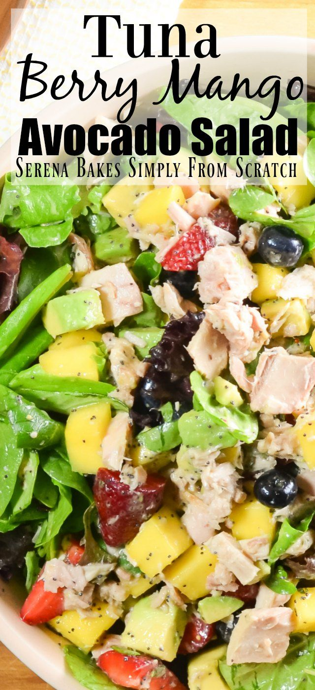 Tuna Berry Mango Avocado Salad. Ad for @BumbleBeeSeafood using OnlyAlbacore