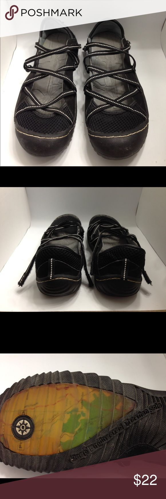 """Women's J-41 'GENESIS' Black Mesh Shoes Size 6 Very good condition J-41 """"Jeep Engineered Traction Sole"""". Partially recycled rubber sole. Nicely padded insoles with arch support. White contrast stitching. J-41 Shoes Athletic Shoes"""