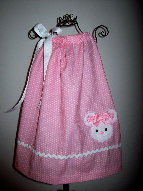 Easter Bunny Pillowcase Dress With M2M Hair Bow Pink by molliepops, $32.99