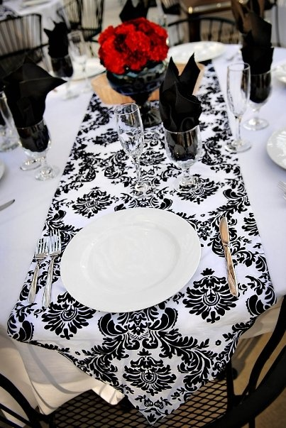 Awesome Flocked Damask Table Runners For Sale   Black And True White : Wedding  12467 1280354244209 1090630839