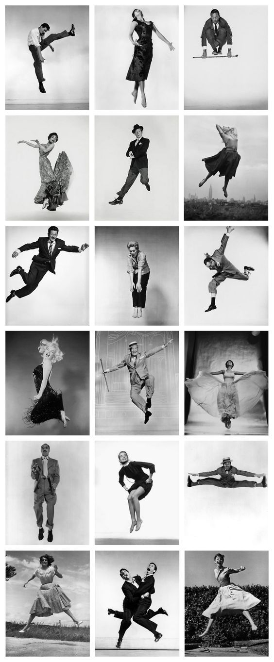 Portraits from Philippe Halsman's Jump series First row: Anthony Perkins, Ava Gardner, William Holden Second Row: Eartha Kitt, Danny Kaye, Eva Marie Saint Third Row: Donald O'Connor, Kim Novak, Harold Lloyd Fourth Row: Marilyn Monroe, Maurice Chevalier, Lena Horne Fifth Row: Groucho Marx, Grace Kelly, Ray Bolger Sixth Row: Sophia Loren, Dean Martin and Jerry Lewis, Audrey Hepburn