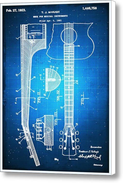 7 best blueprints images on pinterest blueprint drawing canvas gibson thaddeus j mchugh guitar patent blueprint drawing on stretched canvas by rubino fine art malvernweather Choice Image