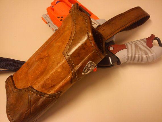 Antiqued Dragon themed Cowboy holster for Nerf Hammershot