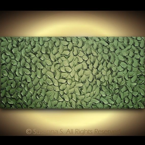 Original Large Metallic Olive Green Abstract Textured Palette Knife Sculpture Painting by Susanna 48x24 - MADE2ORDER. $375.00, via Etsy.