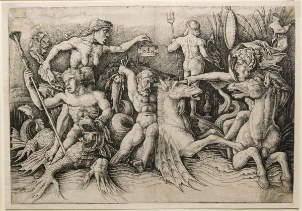 "Daniel Hopfer and Andrea Mantegna. ""Battle of Hippocamps."" 15th - 16th century. Etching."