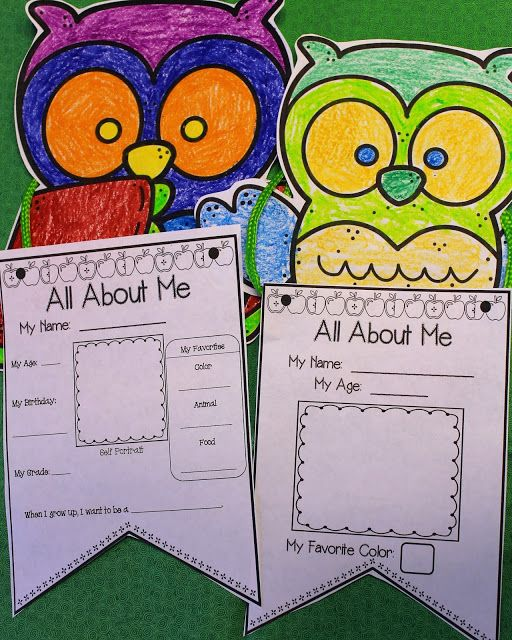 All About Me Pennant  Use with your owl classroom themes for all about me craft on the first day of school