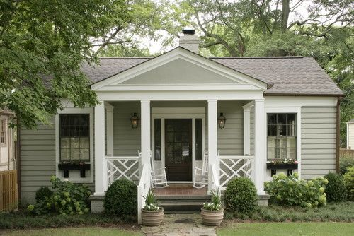 like this cottage styleFront Porches Design, Front Yards, Front Doors, Traditional Exterior, Curb Appeal, House, Painting Colors, Porches Railings, Ranch Style Home