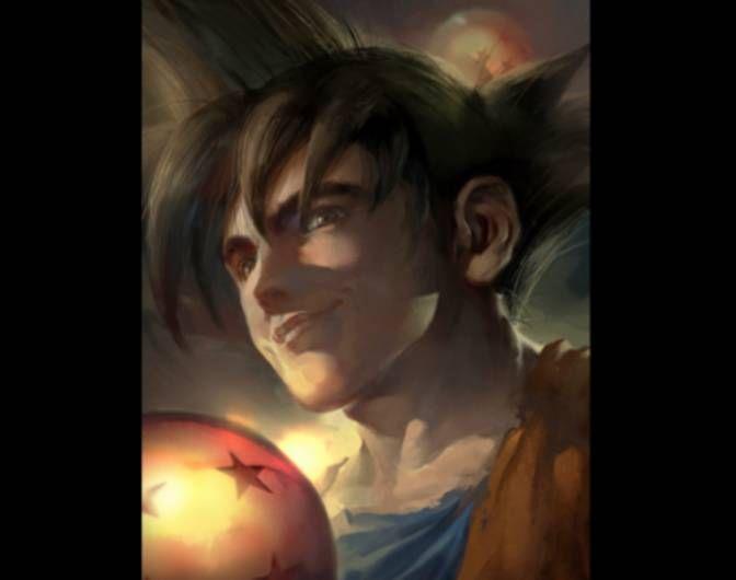 Realistic drawing of Goku