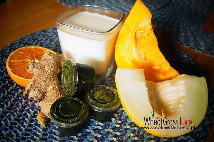 Zielone koktajle: mleko roślinne + dynia + pomarańcza + melon + trawa pszeniczna + imbir