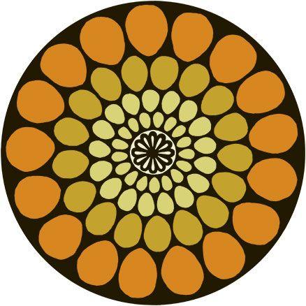 Dahlia Round Retro Floral Bright Statement Rug