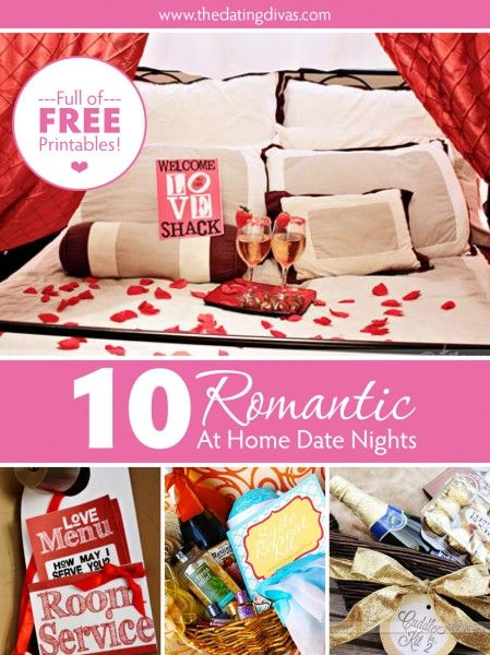 10 ideas for a night of romance AT HOME.  PLUS lots of free printables included!   Perfect if you can't get a babysitter for the night of your anniversary(or even if you can).   www.TheDatingDivas.com
