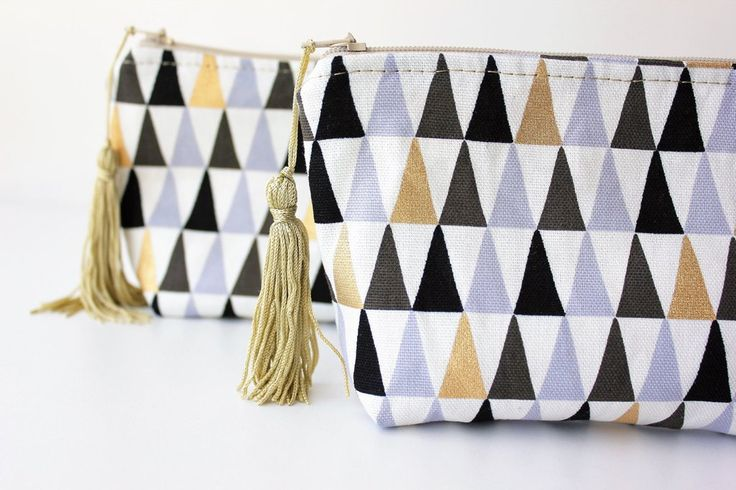 Zipper Pouch With Tassle, Purse, Makeup Bag, Gifts for her, Medium size, Black and White
