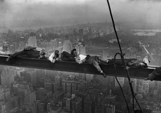 "Construction workers taking a nap on a steel girder during construction of the RCA building in NYC in 1932 after the iconic ""Lunch atop a Skyscraper"" picture was taken (Source)"