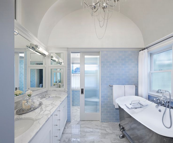 17 Best ideas about Blue Subway Tile – Blue and White Bathroom