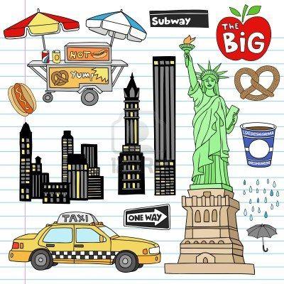 Ilustración vectorial de archivo: Nueva York Notebook Manhattan Doodle