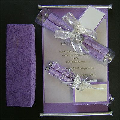 Ref Fancy scroll Purple Crazee ( we can do any colour) www.weddingcards.co.za