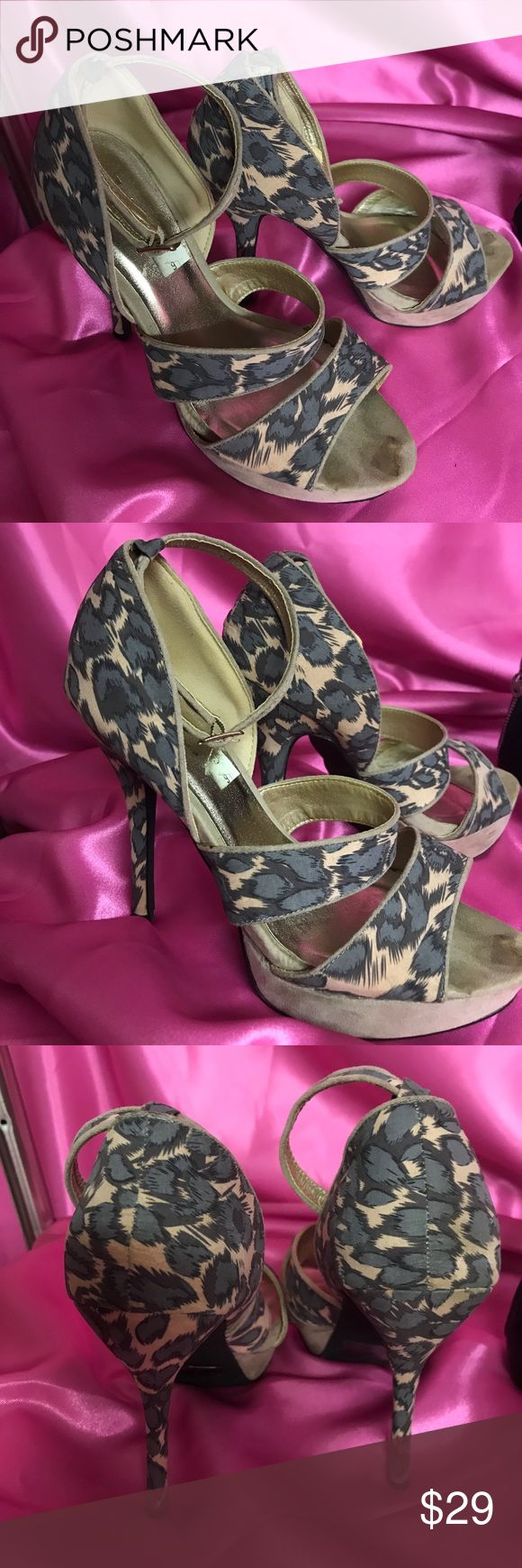 Shi leopard cheetah platform gray tan nude heels 9 Strappy heels pumps Platforms size 9 criss cross worn once .. sticker residue on toe a few scuffs needs a tiny bit of TLC gray with nude back ground animal print shi Shoes Platforms