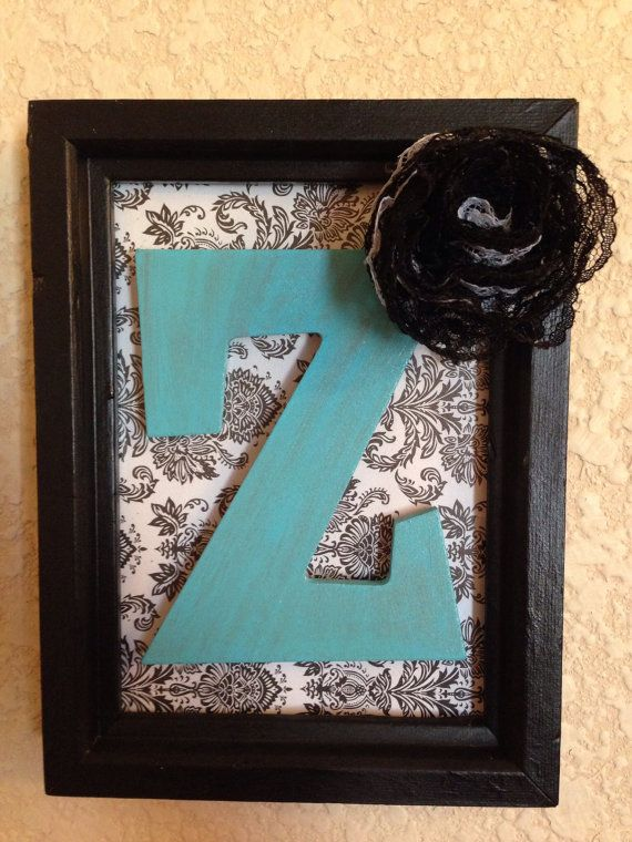 Custom Initial Picture Frame, Black and White Damask Print, Cute wall decor! on Etsy, $11.00
