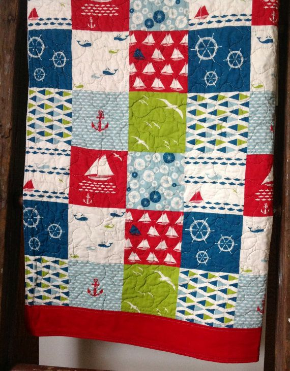 1000 images about sailboat quilt ideas on pinterest for Nautical nursery fabric
