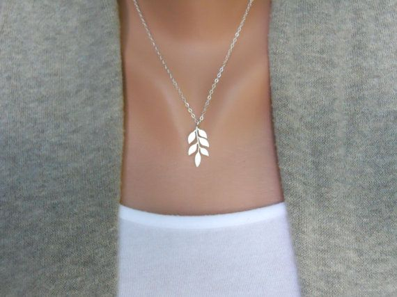 sterling silver & rhodium leaf necklace.
