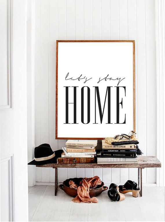 Printable Poster Let's stay home Scandionavian by PrintablePixel