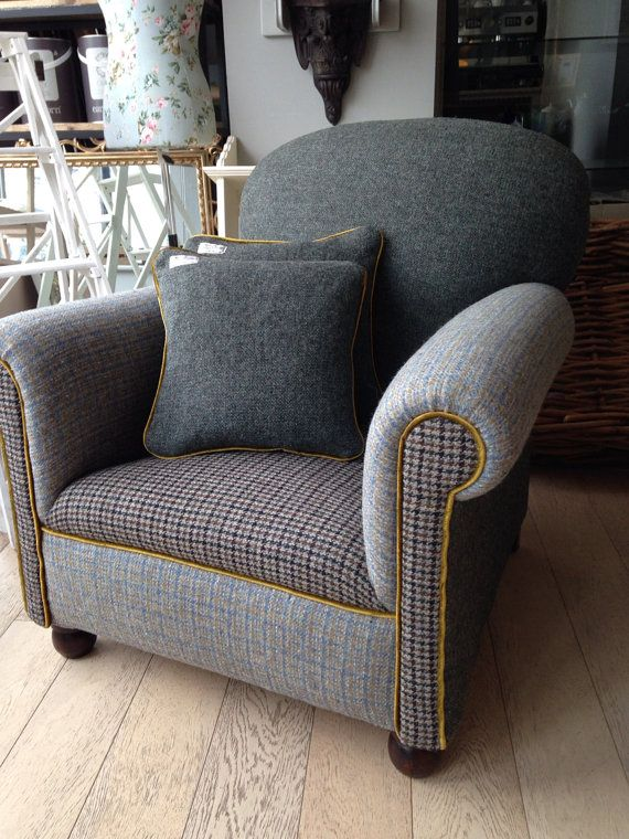 Great Use Of Various Upholstery Fabrics: Vintage Harris Tweed U0027Cocktailu0027  Armchair By RescuedRetroVintage,