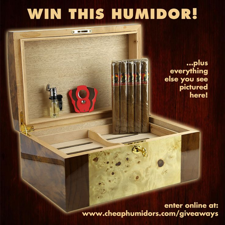 I just entered win a 125-count humidor and more from CheapHumidors.com! Re-Pin this and enter online: http://www.cheaphumidors.com/giveaways