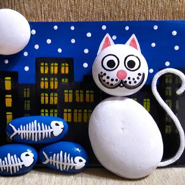#kedi #cat #rock #rocks #rockart #rockpainting #taştablolar #taştablo…