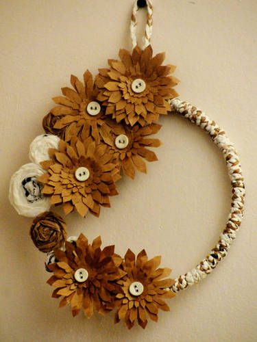 Upcycled plastic and paper bag Wreath