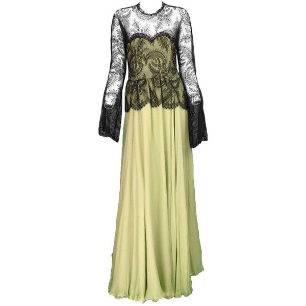 Preowned Vintage Oscar De La Renta Chanilly Lace And Mint Green Silk... ($950) ❤ liked on Polyvore featuring dresses, gowns, green, maxi dress, long flared skirt, mint green gown, long evening dresses, maxi skirt and long green skirt