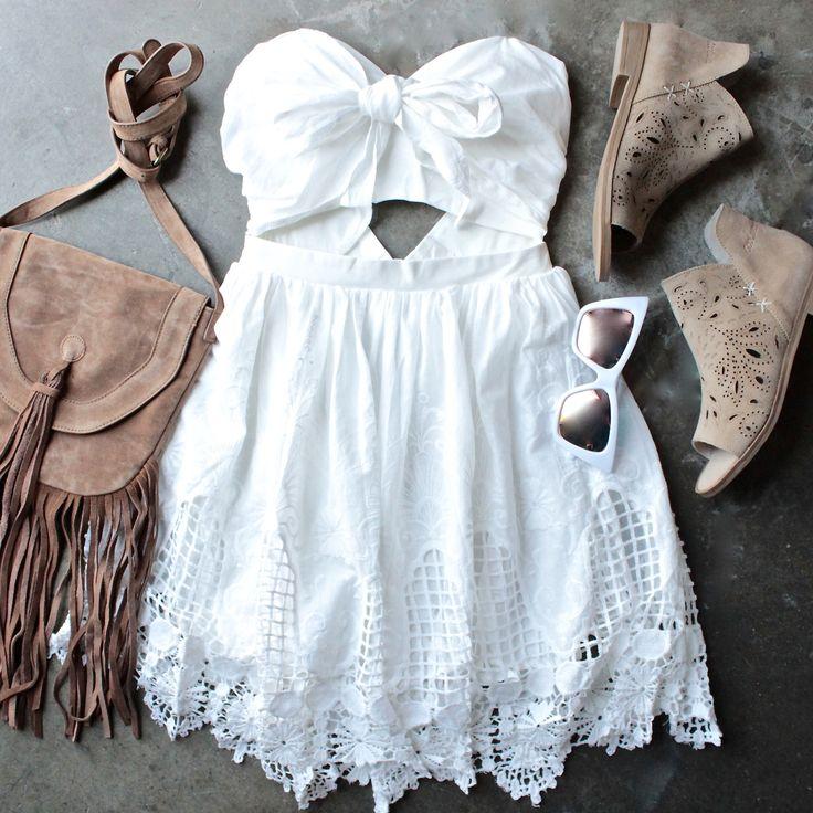 ribbon tie white crochet summer dress - shophearts - 1