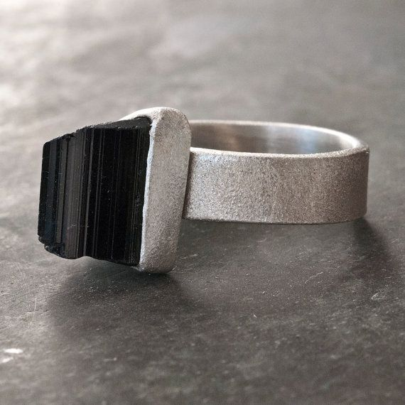 Black Tourmaline Ring Sterling Silver Raw Black by SunSanJewelry