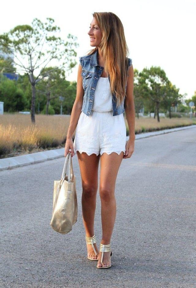 Chaleco vaquero y blanco | Outfit Vests Jeans | Pinterest | Chaleco vaquero Vaqueros y Blanco