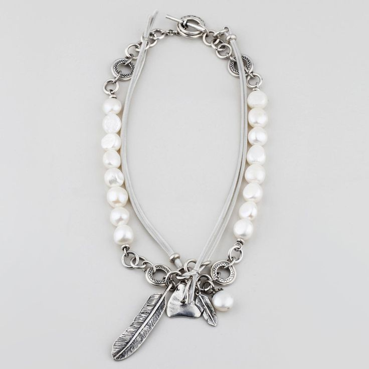 #miglio Wanderlust Necklace - Lustrous white freshwater pearl and light grey suede necklace with burnished silver plated links, leaf and heart charms - 82 cm worn long / 47 cm worn short N1584