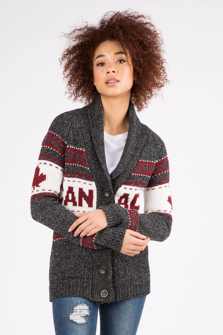 Womens Canada Button Front Caridgan