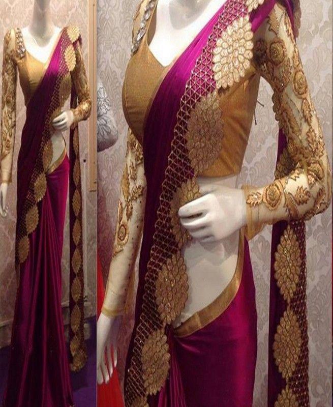 e9b11c8a28dd0 Tyrian purple Nylone Silk Fabric Machine Work Embroidered Saree  saree   sarees  partywear  fashion  fashionblogger