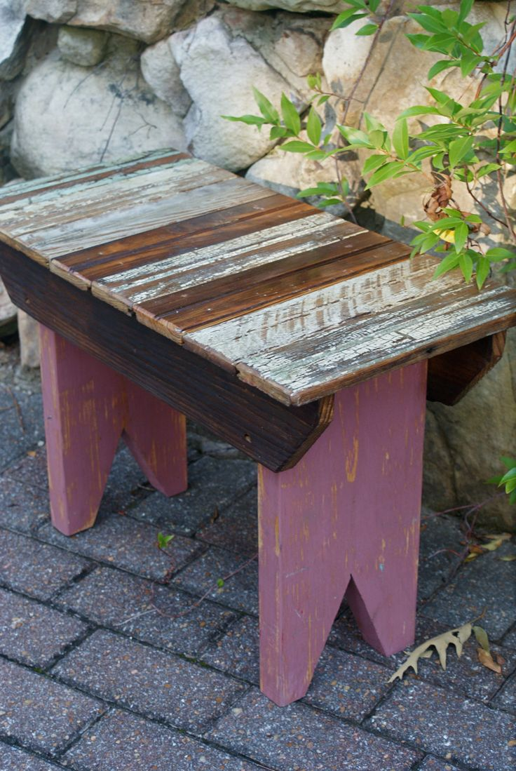 Wooden Benches   Reclaimed Bead Board Small Wooden Bench Outdoor Furniture Home Decor ...