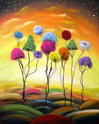 art print yellow lollipop tree landscape - Mattsart