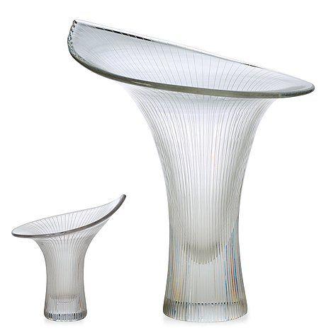 Two Tapio Wirkkala 'Kantarelli' glass vases, Iittala, Finland. Signed TAPIO WIRKKALA IITTALA, den smaller vase also -57.