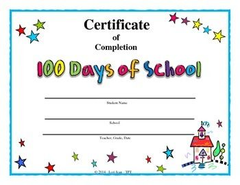 Celebrate 100 Days of School with this reward Certificate.