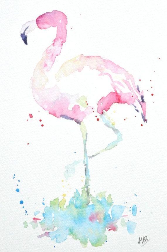 Flamingo-Aquarell-Original Aquarell Kunst von MABArtStudio auf Etsy