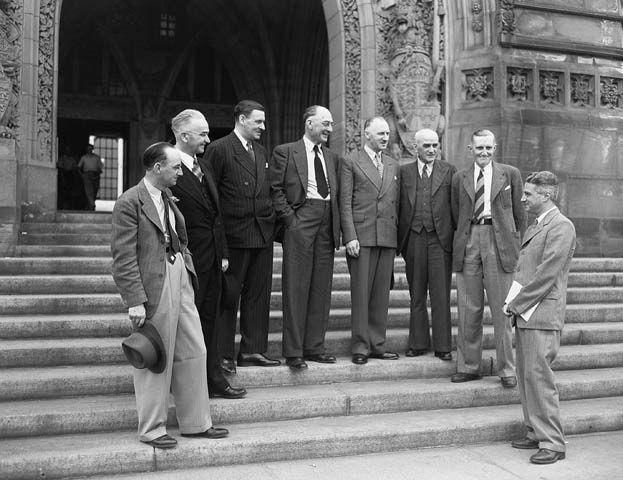 Delegation negotiating the union of Newfoundland with Canada / La délégation négocie l'union de Terre Neuve et du Canada   by BiblioArchives / LibraryArchives