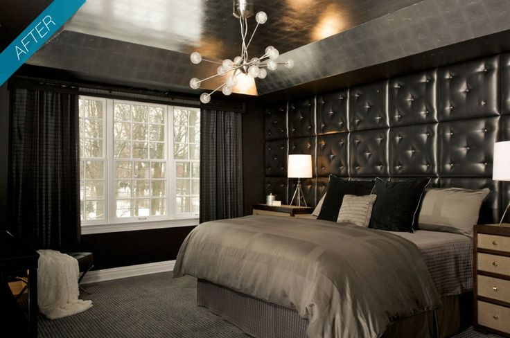 Luxury black theme bachelor pad bedroom after renovation for 2 bedroom apartment renovation ideas