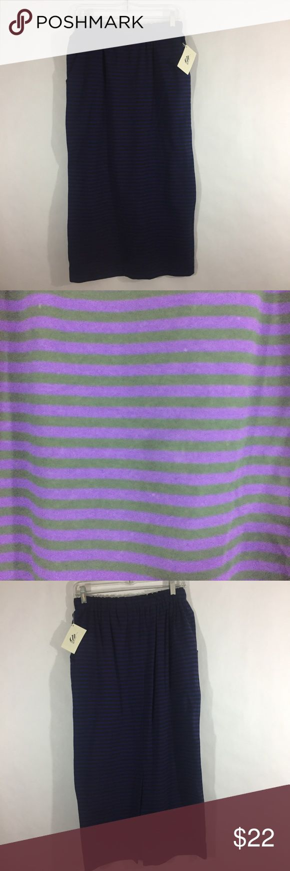 "NWT Nautica striped maxi skirt New with tags purple and black striped maxi skirt by Nautica.  Elastic waistband, side seam pockets, 12"" back slit. 100% cotton.  Machine washable. Waist: 13.5"" Length: 34"" Nautica Skirts Maxi"
