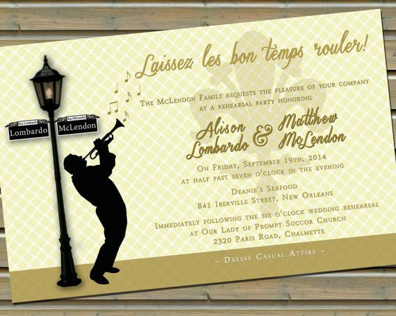 7 best party invitations images on pinterest mardi gras party new orleans jazz lamp post invitation with envelopes 3 colors available cream stopboris Image collections