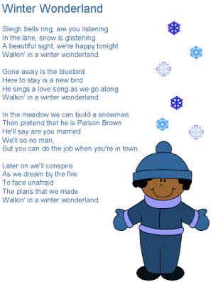 Winter Wonderland Lyrics - teach a Christmas song.